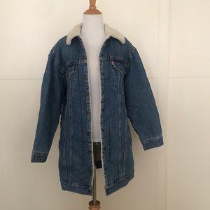Levi's Long Sherpa denim trucker jacket